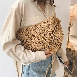 Woven Raffia Crossbody/Clutch Bag Light Brown.